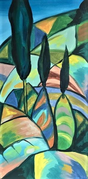 painting of a cubist vineyard