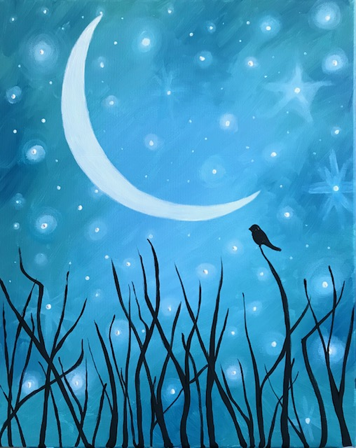 painting of a night sky with a bird