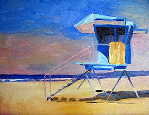 A pastel painting of a lifegaurd tower with pinks, blues and yellows