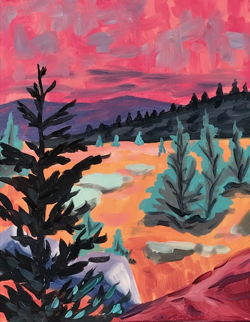 Painting of pine trees and mountains with a pink sky