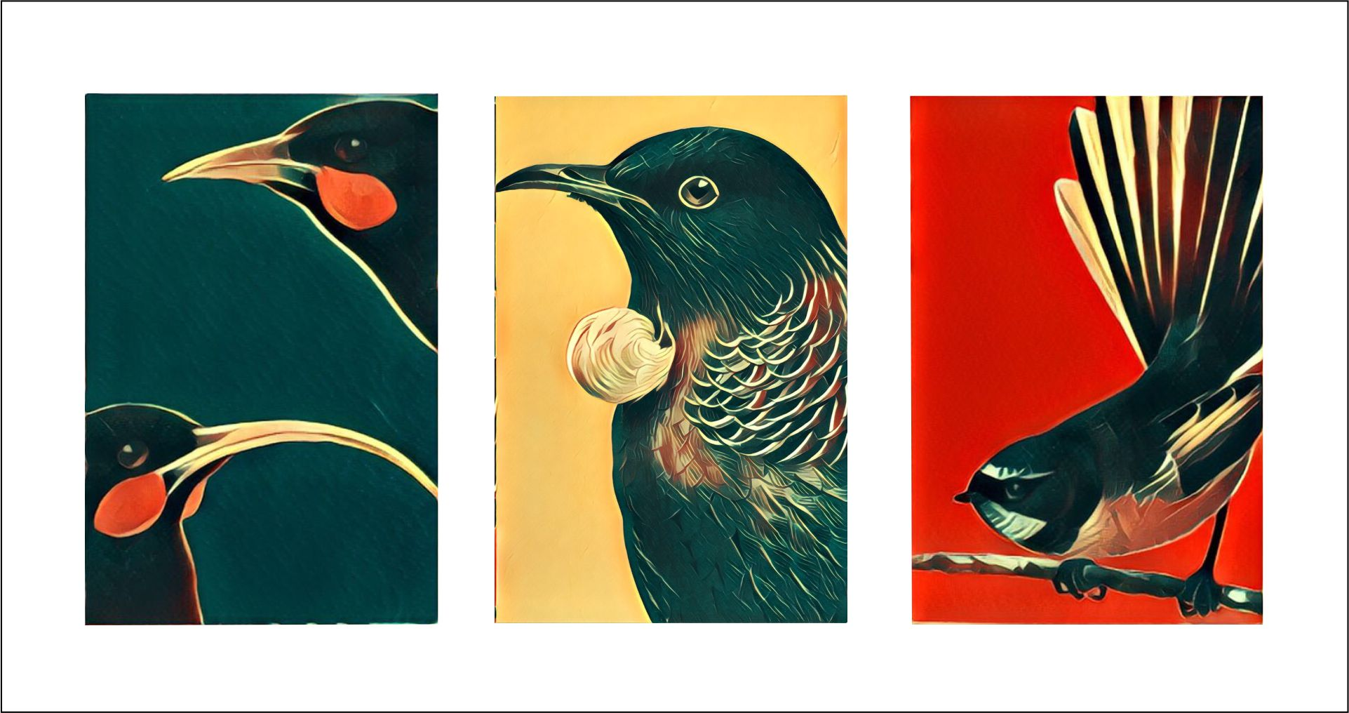 three tiny paintings of three different birds of new zealand. There are three different colored backgrounds, navy blue, red, and custard yellow.