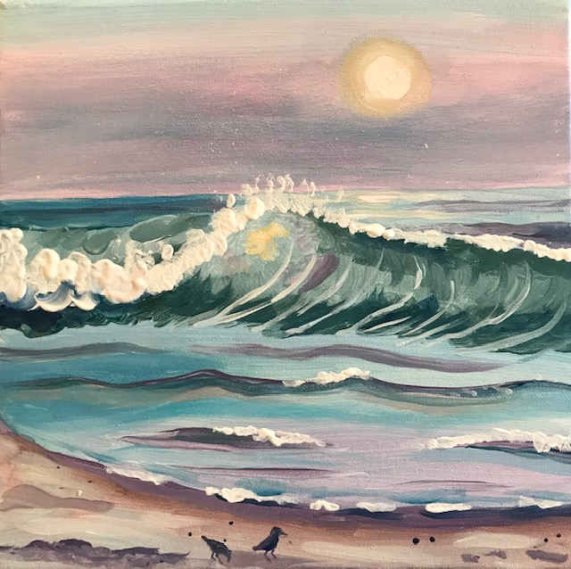 Painting of an ocean wave with pastel pinks, pastel blues, and pastel greens.