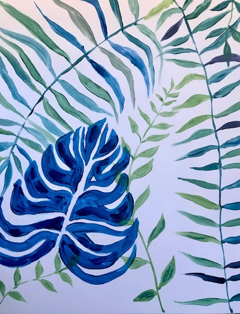 Painting of three blue ferns that are all a different leaf style
