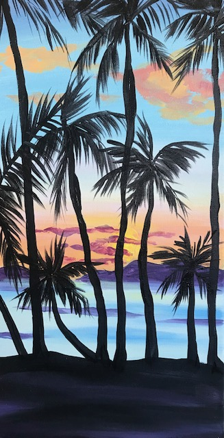 Paining of silhouetted tall palm trees and a tropical background.