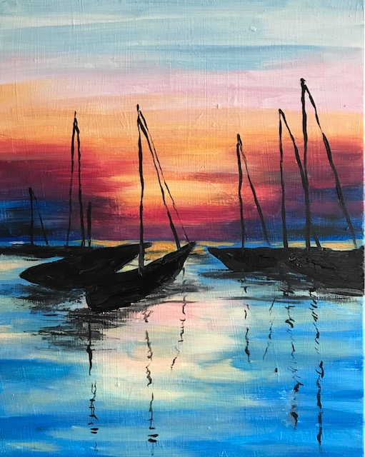 Painting of sailboats at dusk.