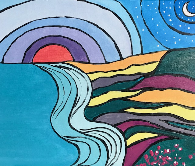Painting of abstract ocean wave, sunset and moon.