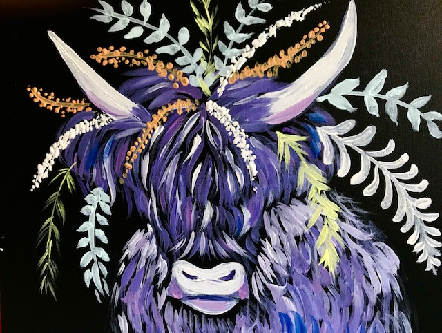Painting purple of a shaggy looking llama with a black background and flowers on its head.