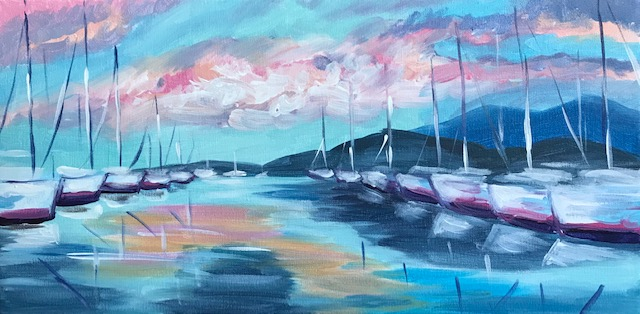 Impressionism painting of sailboats using pastel colors.