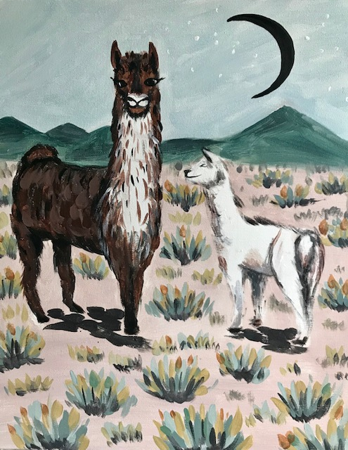 A neutral colored painting of a mother llama and her baby.