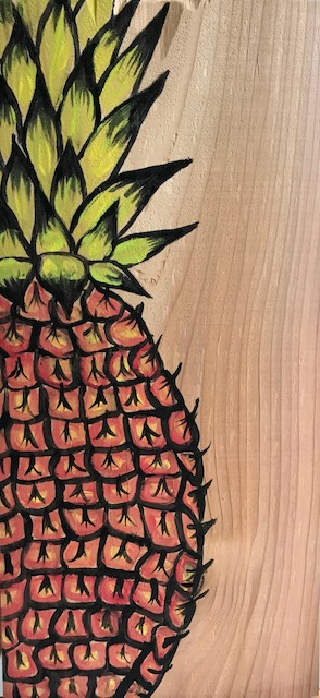 Painting of a pineapple on wood
