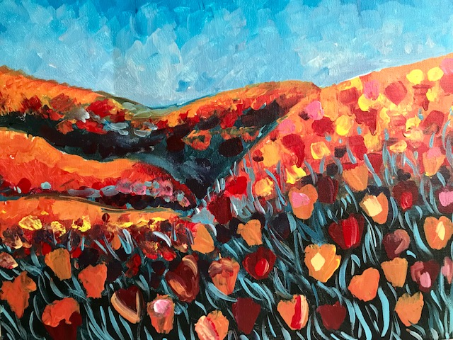 Painting of a feild of red poppies.