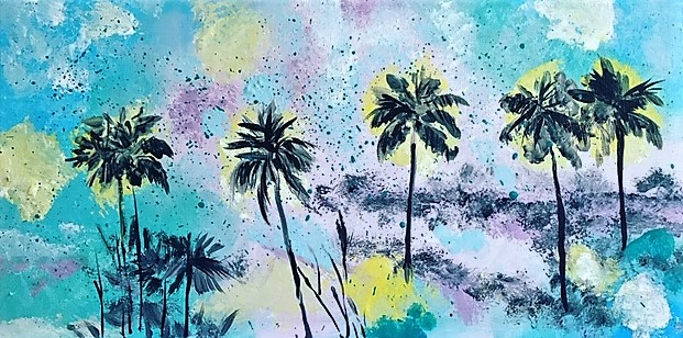 Abstract painting of palm trees.