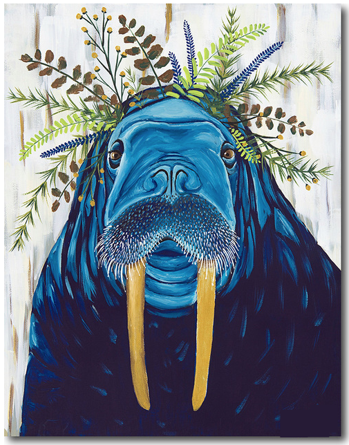 Painting of a blue walrus with flowers on top of its head.