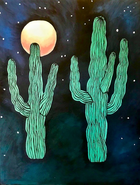 Painting of two green cactus with a dark starry night background and a full orange moon.