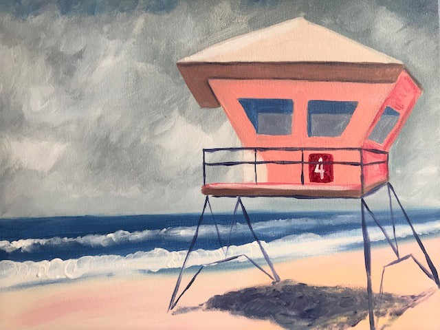 Painting of a light pink lifeguard tower on a beach.