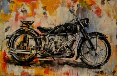 Painting of a BMW R51/3 motorcycle with an abstract background.