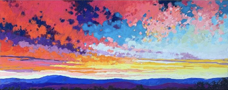 Painting of a sunset and mountains