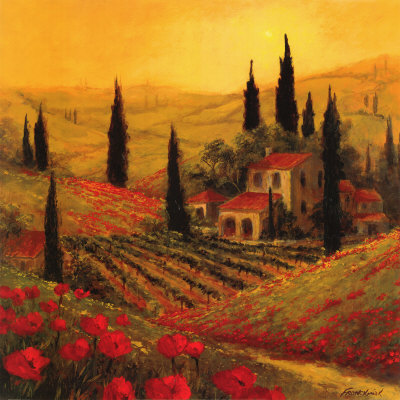 Painting of Tuscany with mostly gold and yellow tones.