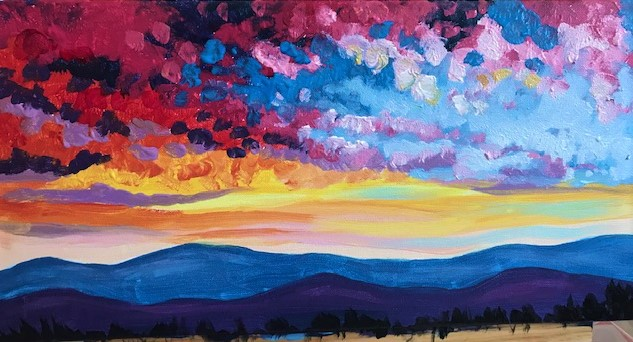 Painting of a colorful sunset