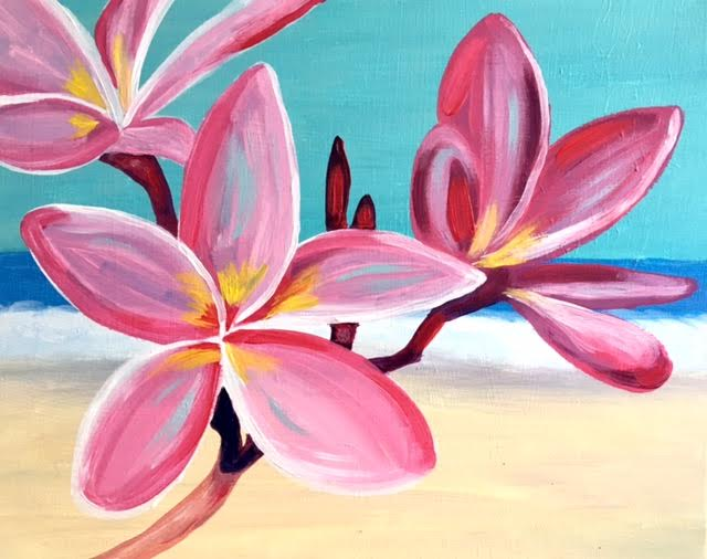 Painting of a close up of pink Plumeria flowers with a beach in the background.