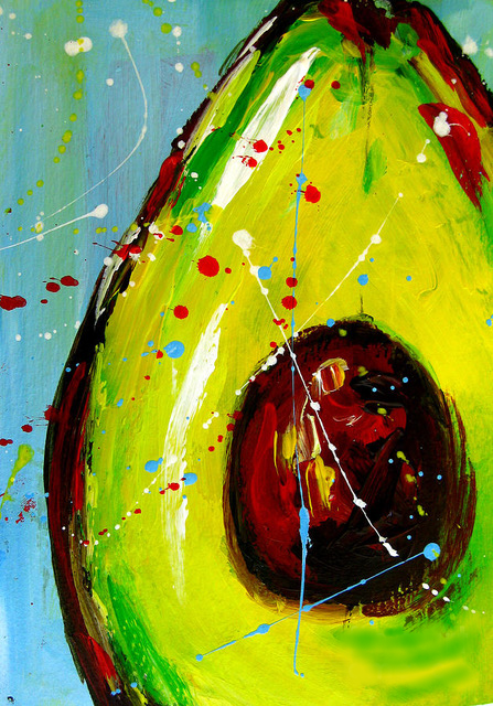 Painting of an avocado with colorful paint splatters