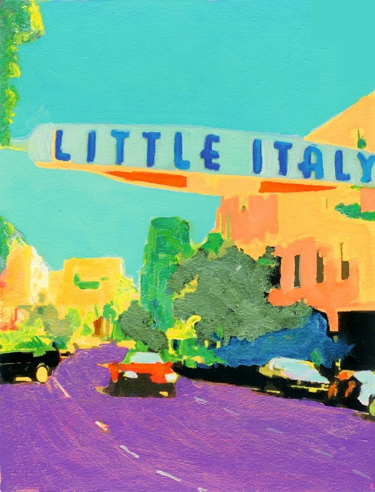 "Painting of a town with a sign that says, ""Little Italy""."