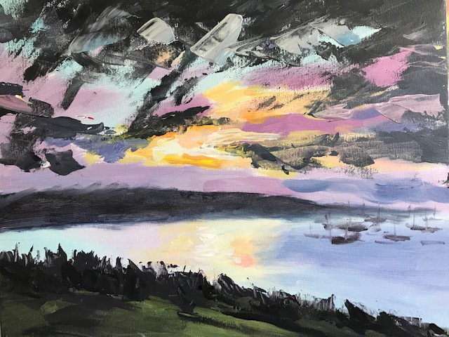 Painting of a pastel and charcoal grey sunset
