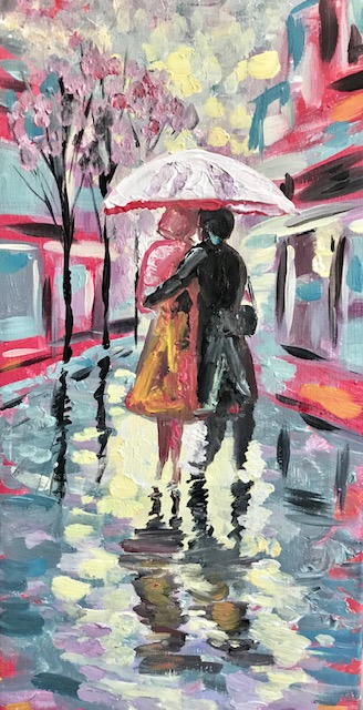 Painting of a couple underneath an umbrella in the rain in Paris, France.