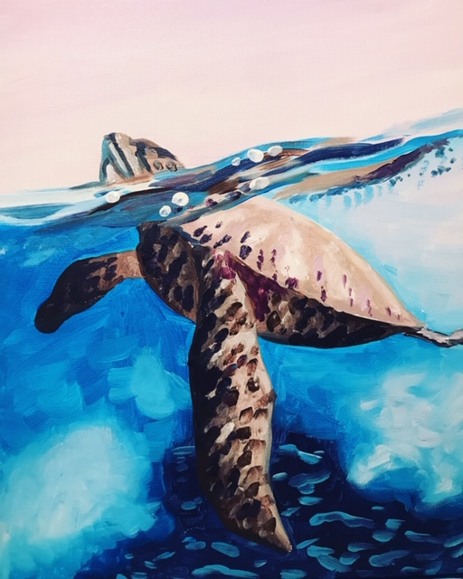 Painting of a close-up of a sea turtle