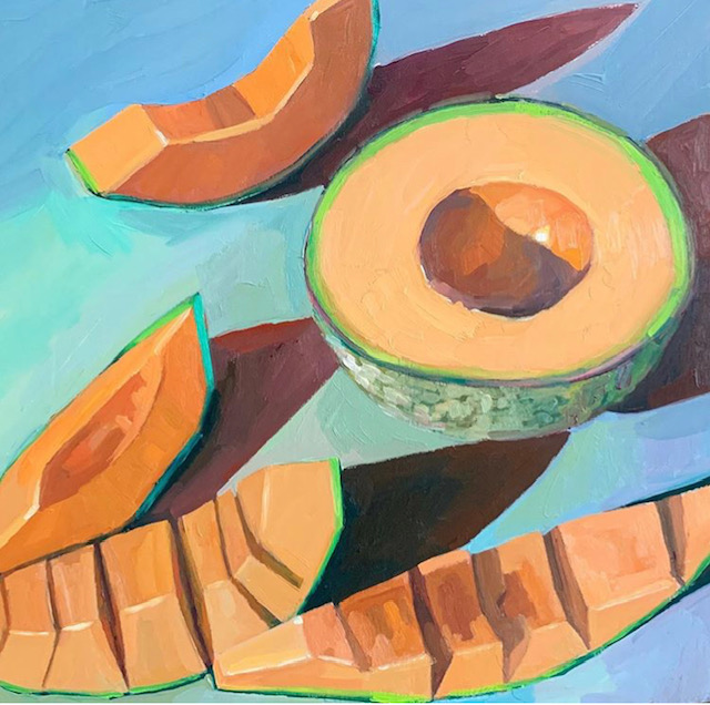 Painting of half a cantaloupe and some sliced pieces on a blue table.