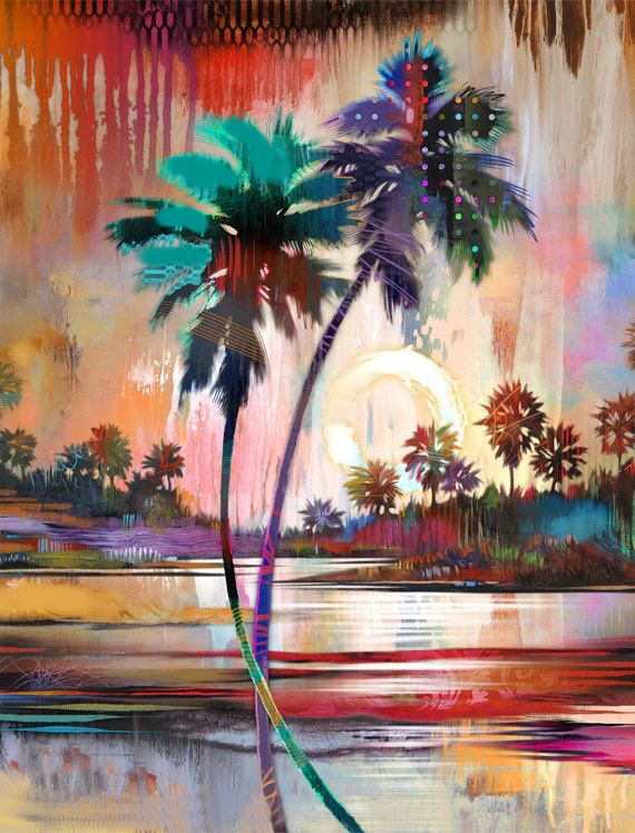 Abstract painting of colorful palm trees