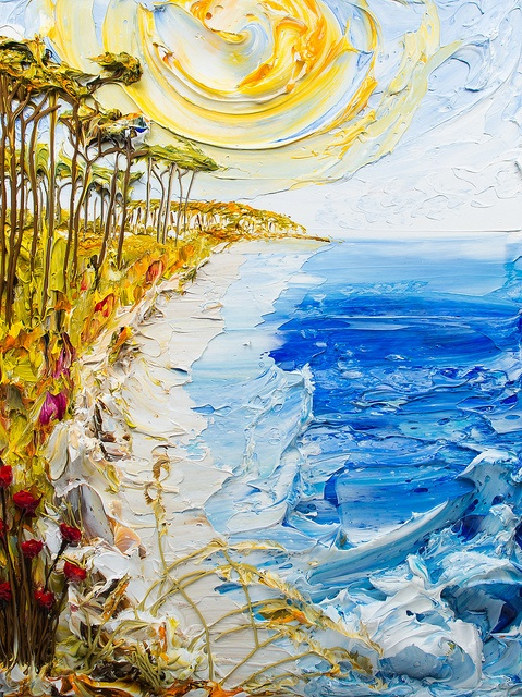 A thick impasto textured painting of a coastline and palm trees