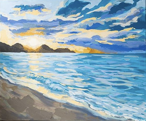 Painting of a beautiful sunset over the ocean and beach.