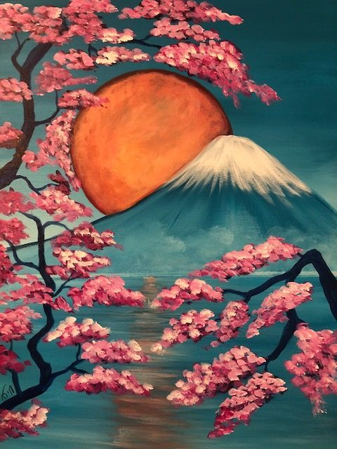 A painting of Mt. Fuji in Japan.