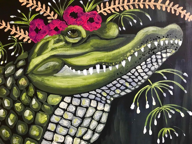 Painting of a crocodile with flowers on its head.