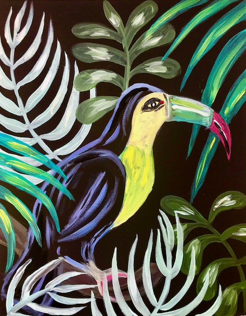 Painting of a toucan named Sam