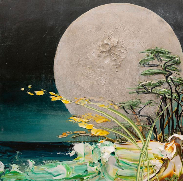 A painting of a full moon at night.