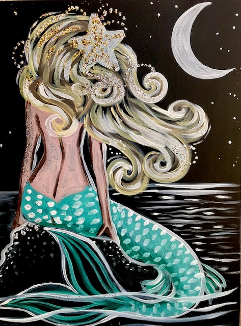 Painting of a mermaid sitting on a rock at night in the moonlight
