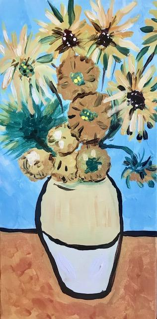 Painting of Van Gogh's sunflowers