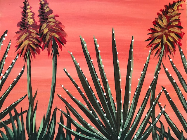 Painting of a sage green cactus garden and a light pink background