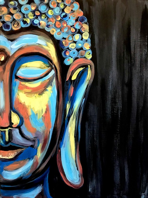 Zoomed in painting of Buddha's head but only of half his face