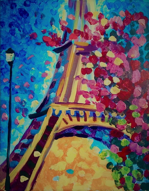 Painting of the Eiffel Tower.