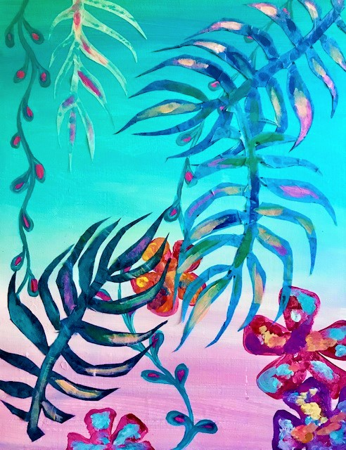 Painting of tropical plants and flowers.