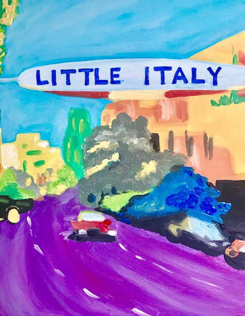 """Painting of a town with a sign that says, """"Little Italy""""."""
