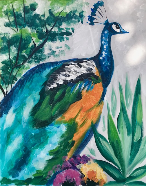 Painting of a peacock.