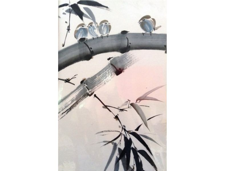 Japanese stlye painting of little birds sitting on bamboo
