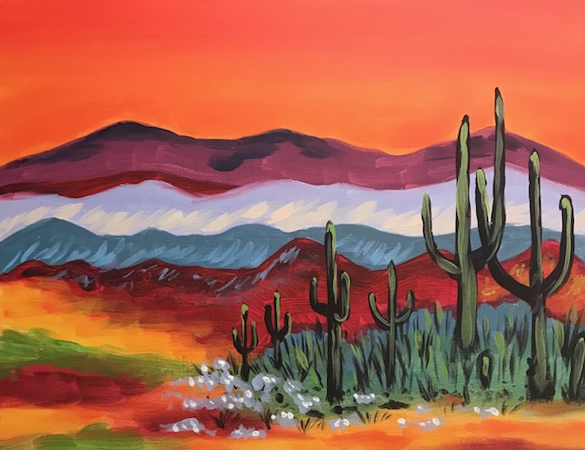 Painting of a desert scene with cactus and a very orange sunset