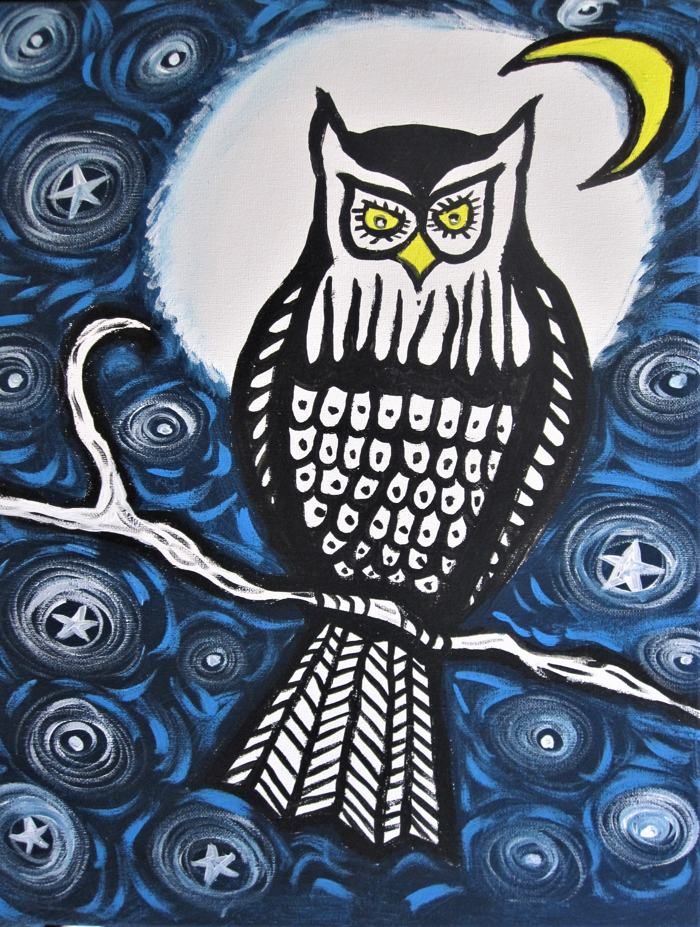 Painting of an owl in front of a full moon.