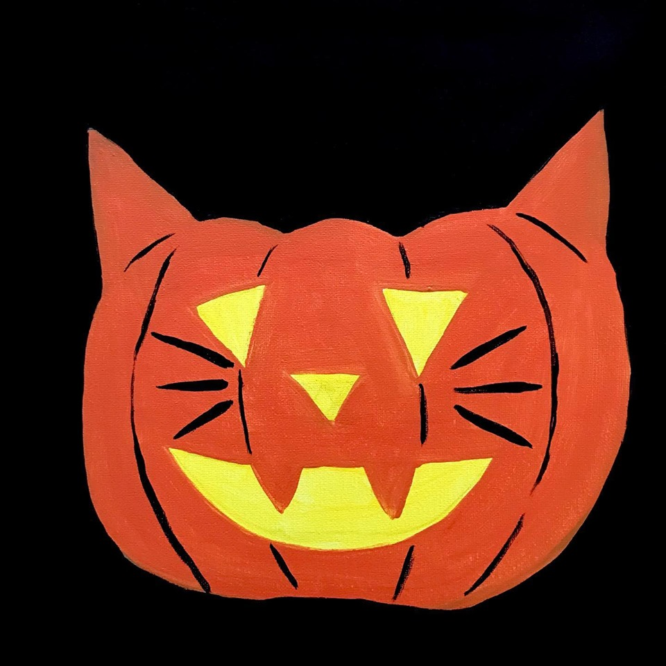 Painting of a pumpkin that looks like a cat.