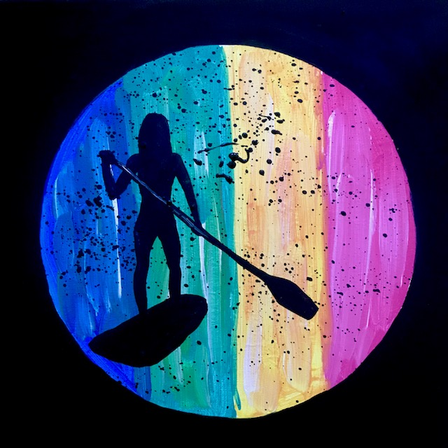 Abstract painting of a stand up paddle boarder.